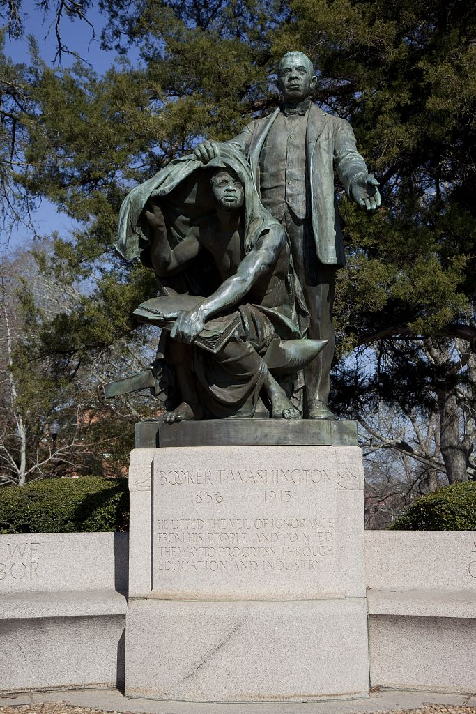 Statue of Booker T. Washington 'Lifting the Veil of Ignorance,' by Charles Keck located at Tuskegee University in Tuskegee, Alabama
