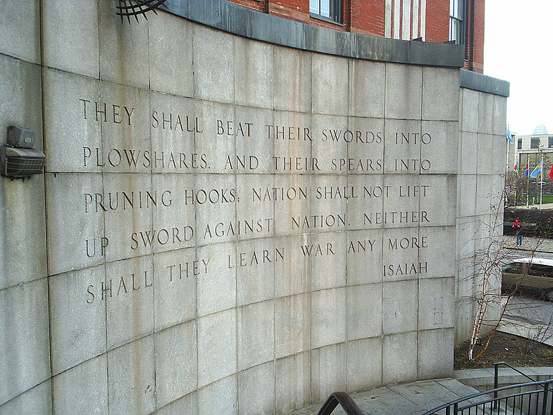 Isaiah 2:4 Inscribed on a Wall in Ralph Bunche Park, across First Avenue from the United Nations Headquarters New York City, New York (USA)