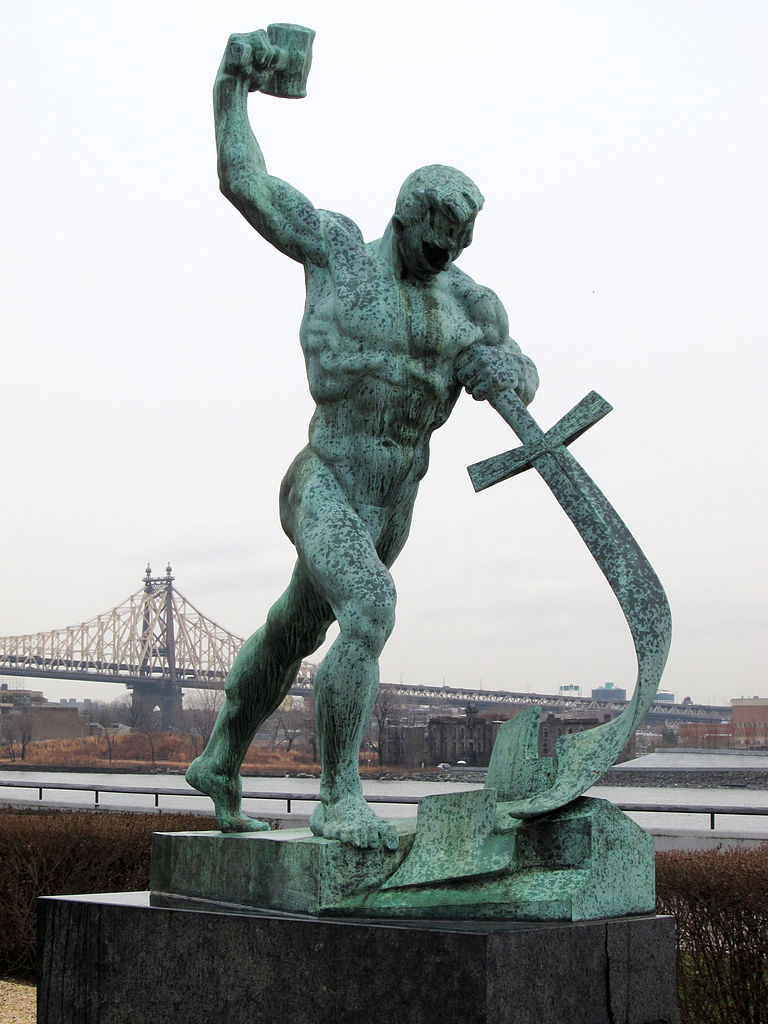Let Us Beat Swords into Plowshares, sculpture by Yevgeny Vuchetich - 1959 gift of the Soviet Union to the United Nations - Garden of the United Nations Headquarters in New York City (USA)