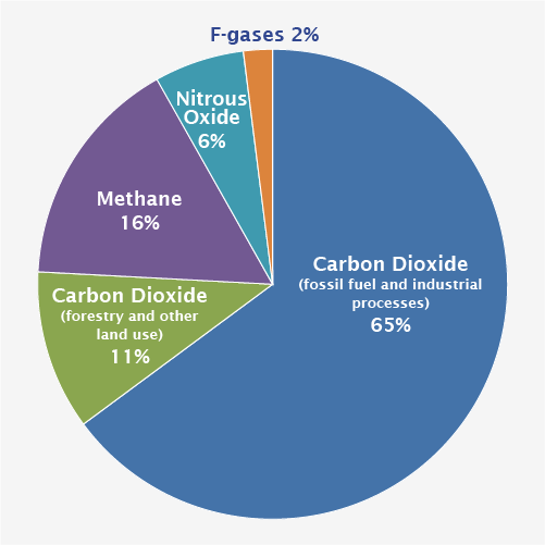 2010 Global Greenhouse Gas Emissions by Gas